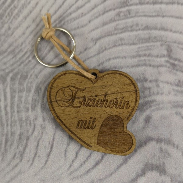 """Schlüsselanhänger """"Erzieher/in mit Herz"""""""